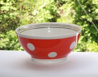 Vintage red polka dot bowl USSR