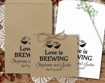 Wedding Coffee Bags - Wedding Favors - Coffee Favors - Bridal Shower Favors - Anniversary Favors - Love Is Brewing  CBPBDGG33