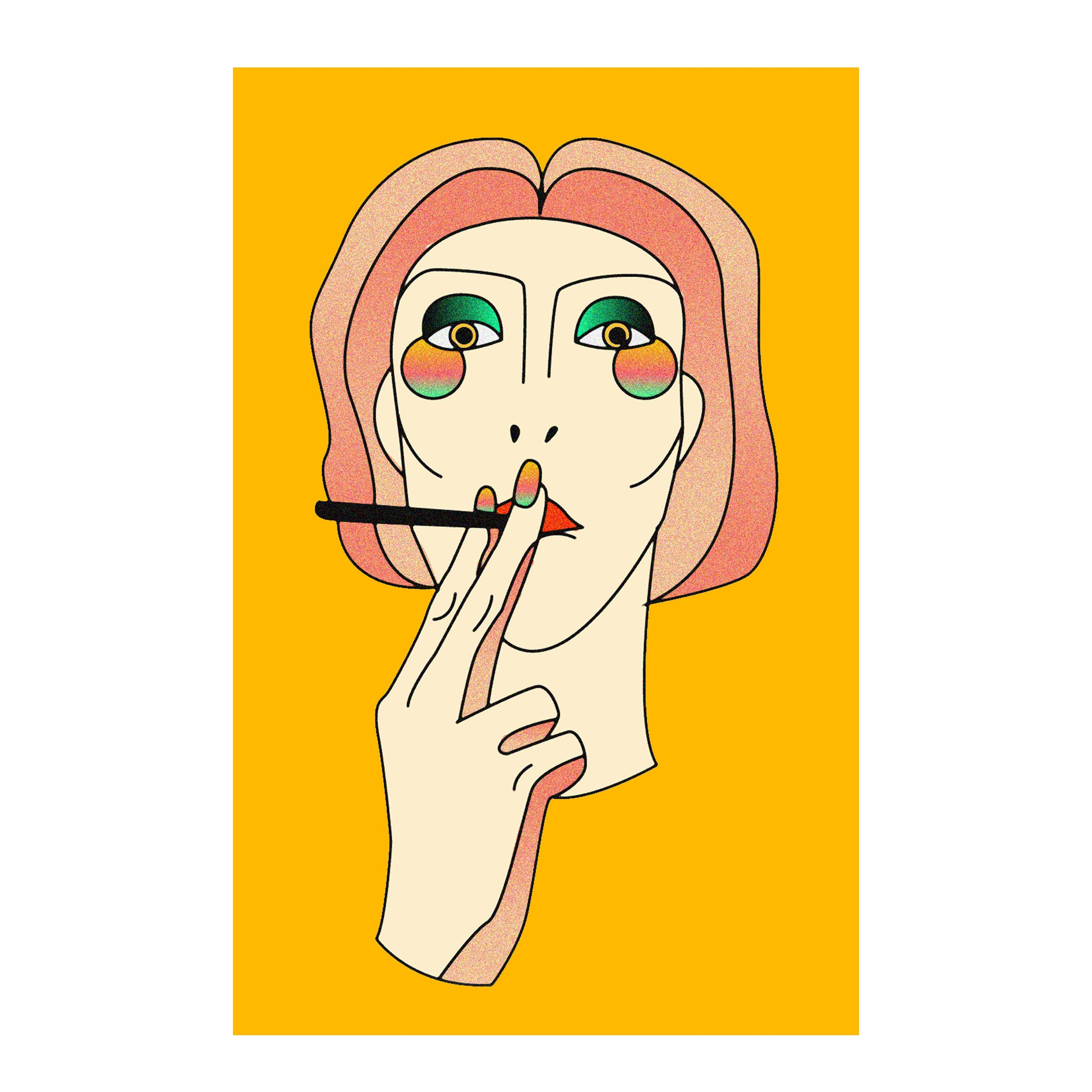 Smokin Tough Poster Bohemian Decor Cannabis Marijuana Girl | Etsy