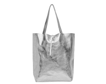 c785f87c8a Metallic Leather Shopper Tote Bag