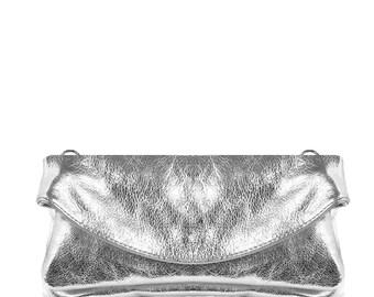 5c5c030349a Fold over Clutch Shoulder Bag | Purse | Metallic | Soft Leather | Bag | Evening  Bag, Silver