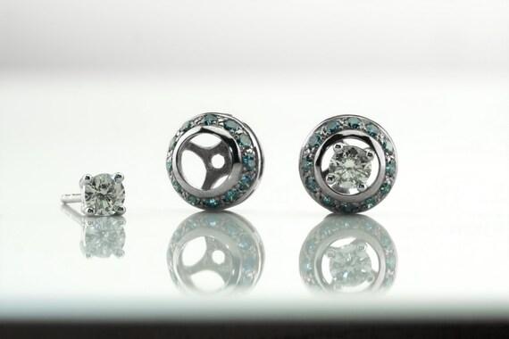 0.30 Ct Créé Diamant 4 Mm Cultured Pearl Fleur Clous D/'Oreilles 14K Or Blanc