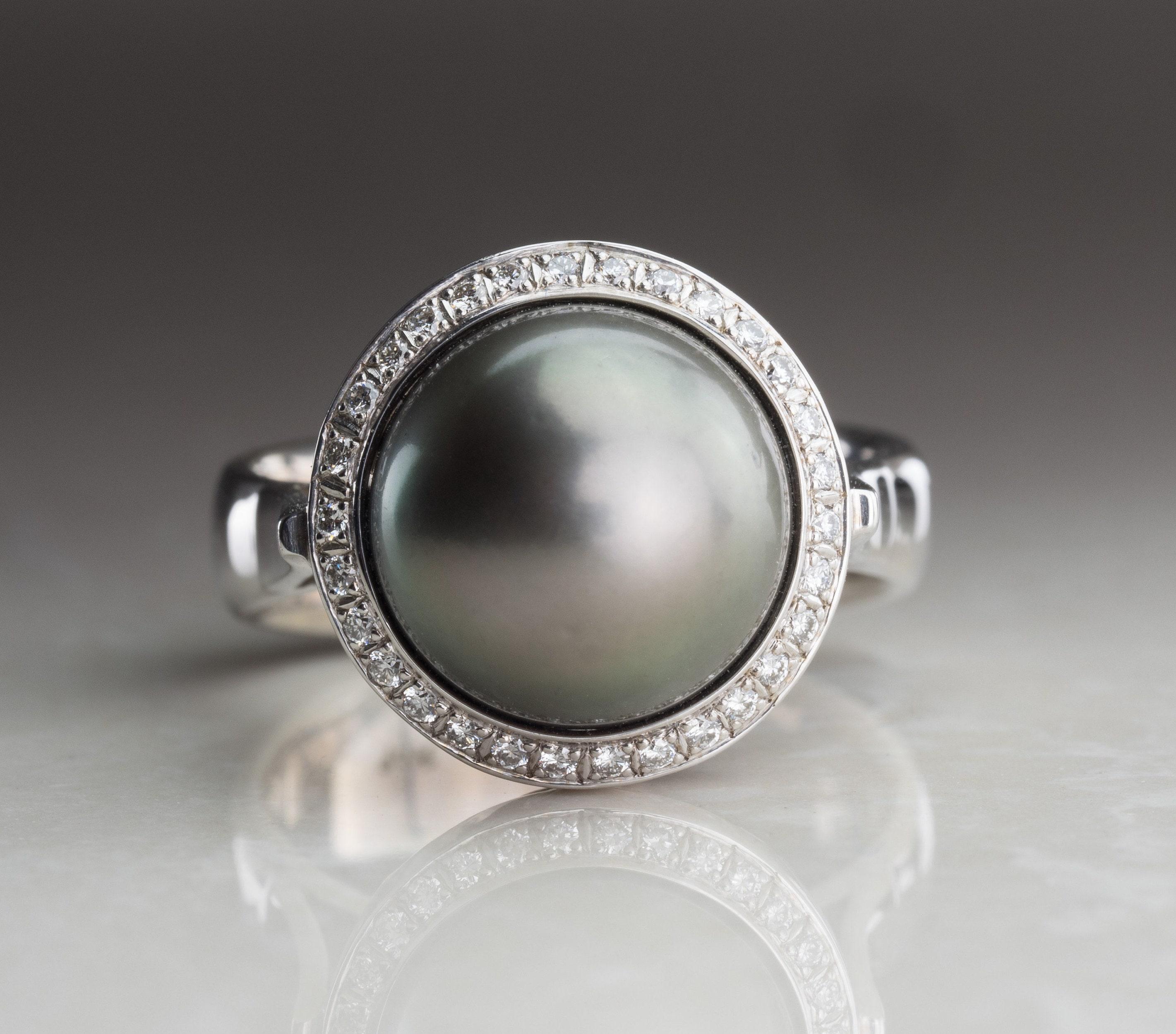 Pearl Ring perle Tahiti Und Diamanten Gelbgold Modern
