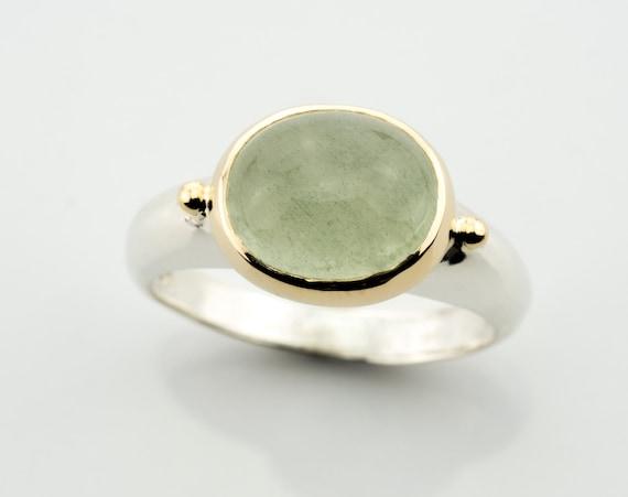 Ring Berylgrun Silber 925 14k Gelbgold Grune Stein Silber Und Etsy