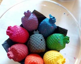 Pineapple Figure Handmade Crayons - Rainbow