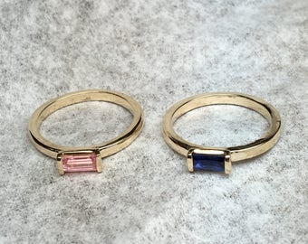 Baguette Ring, Stacking Rings, Stackable Rings, Birthstone Rings, Stacking Birthstone Rings, Gold Stacking Rings, Mother's Day