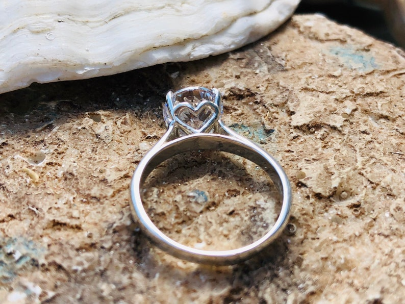 CZ Ring Heart Setting Engagement Ring CZ Engagement Ring Solitaire Setting Round Brilliant Engagement Ring