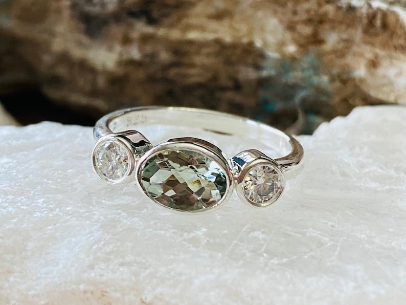 Three Stone Ring Bezel Setting Trio Ring Prasiolite Ring Green Amethyst Ring Unique Engagement Ring