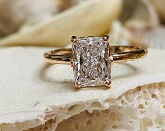 Radiant Cut Moissanite Engagement Ring, Radiant Cut Engagement Ring, Radiant Cut Solitaire, 2.00ct Radiant  Cut, Solitaire Engagement Ring