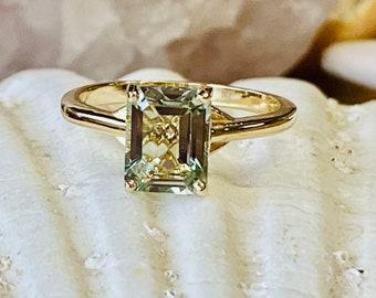 Prasiolite Ring, Green Amethyst Ring, Emerald Cut Prasiolite Ring, 2.00ct Emerald Cut, Prasiolite Solitaire Ring