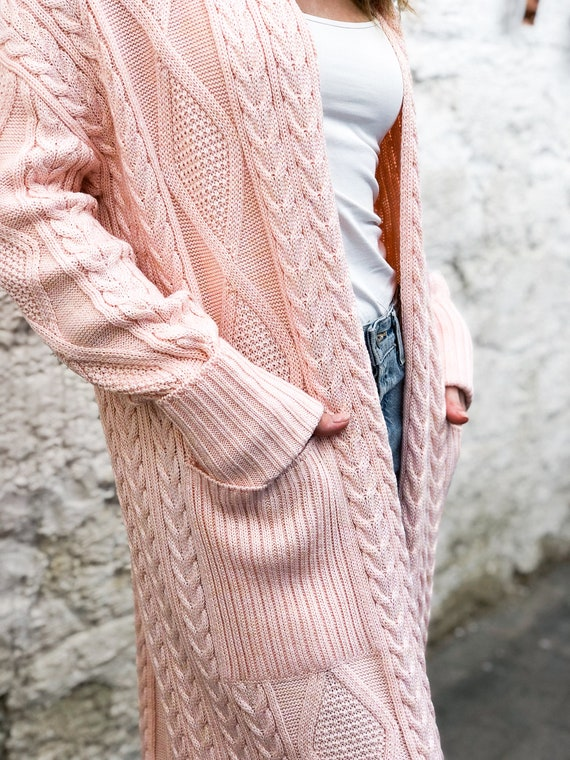 Chunky knit cardigan.Cable knit cardigan.Long knit cardigan.Pink sweater with free delivery