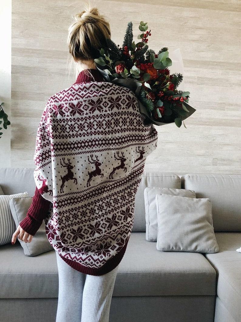 Basic clothing Knitted coat Red and White jacket Scandinavian Cardigan Chunky cardigan Oversize coat Loose knitwear Bordo Coat
