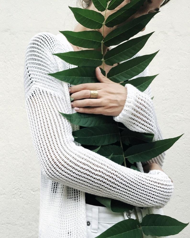 Kimono See through clothing Sheer White Cardigan Cotton beach cover up Hippie cardigan Boho chic clothes Beach tunic Summer knitwear