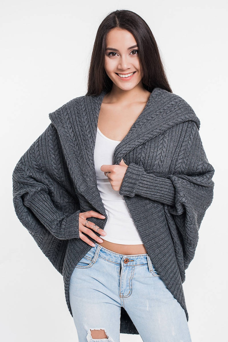 Grey Cardigan Cable knit Loose knitwear Knitted coat Oversized Jacket Off shoulder jacket Chunky cardigan Oversized sweater