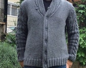 Mens Sweater Cardigan, Hand knitted Men 39 s Overcoat, Gray Boyfriend Cardigan, Ribbed Edge Wool Coat, Warm Chunky Knitwear,Shawl Collar Jumper
