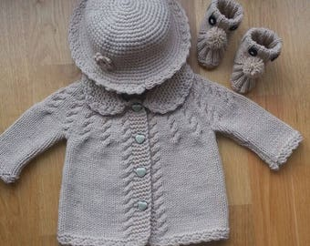 b6dd578d71c2 Grey Knitted Baby Cardigan Baby Boy Cable Sweater Coat Cute