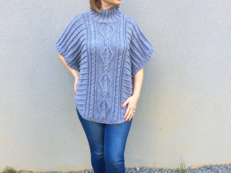 b7ea9ef1b67 Wool Poncho Hand Knit Cape Blue Winter Poncho Plus Size