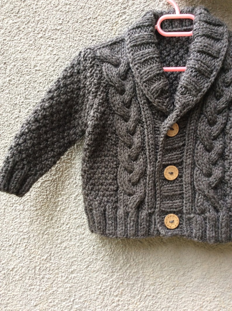 41e9c6639 Grey Knitted Baby Cardigan Baby Boy Cable Sweater Coat Cute