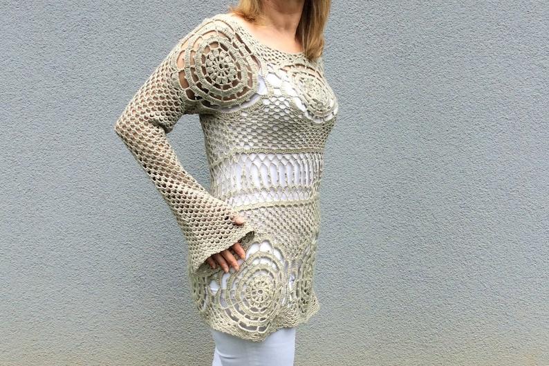 Crochet Long Sleeve Top Boho Hippie Top Crochet Sweater Etsy
