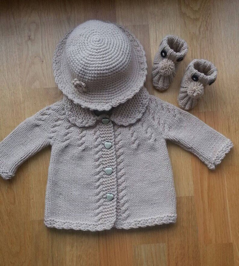 Baby Girl Cardigan Hat and Bootie Set Hand Knitted Baby  962c8527218f