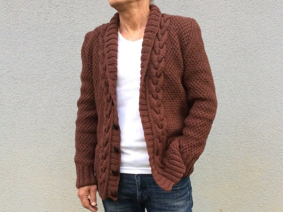 Shawl Collar Cable Knit Cardigan, Hand knitted Mens Overcoat, Winter Outerwear, Men's Gift, Waistcoat, Ribbed Edge Sweater, Mens Cosy Jacket