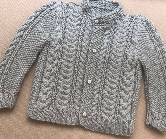 9bf891e21038 Hand Knit Cotton Baby Cardigan Gray Baby Boy Cable Knit