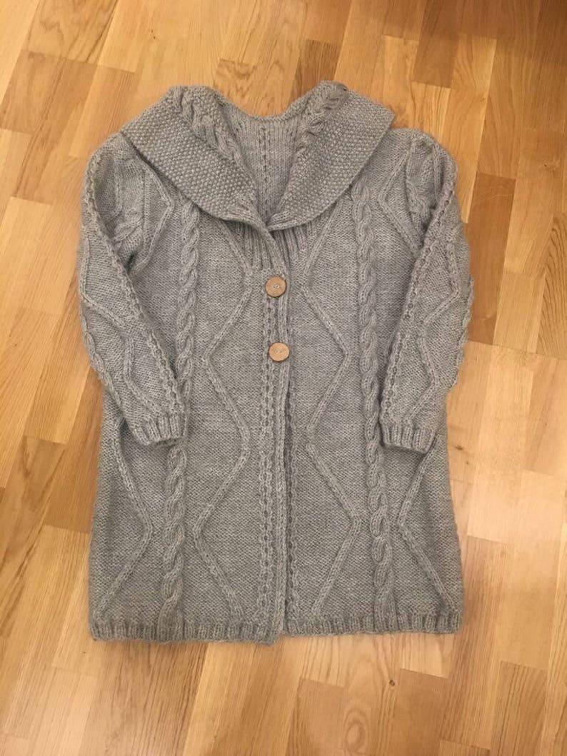 Merino Yarn Cream Knitted Coat Plus Size Long Overcoat Oversized Knitwear Cable Knit Sweater Merino Wool Cardigan Boyfriend Cardigan