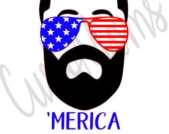 Memorial Day   4th of July   Beard   Iron-on   Heat Transfer Vinyl Decal