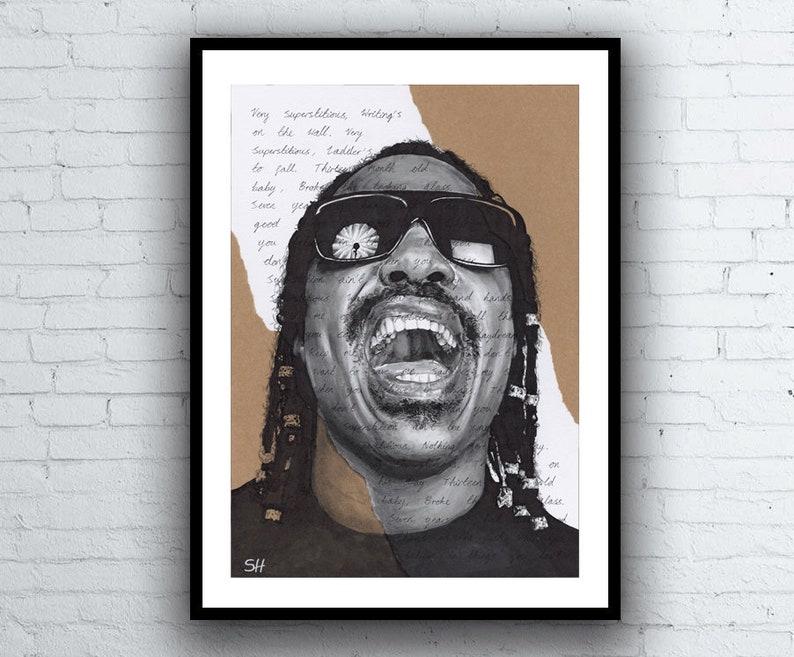 Stevie Wonder Portrait Drawing with Superstition Lyrics - Limited Edition  Giclée Art Print - A5 A4 A3 sizes