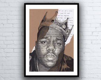 The Notorious B.I.G. Portrait Drawing with Juicy lyrics - signed Giclée art print Biggie Smalls A5 A4 A3 sizes Artwork