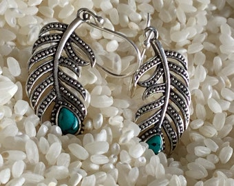 Turquoise silver feather earrings