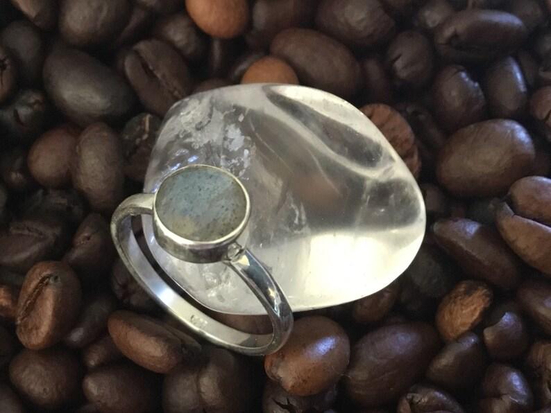 Massive silver labradorite mineral ring 925