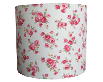 Handmade drum lampshade with pink roses on a cream background