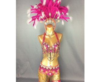 4bc5427a61 Samba Rio Carnival Costume Feather Headdress , feathers costume Hop Pink  accept any size