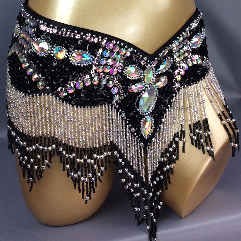 e4a28fd3f535 FREE SHIPPING Hand Beaded Belly Dance Samba Costume black