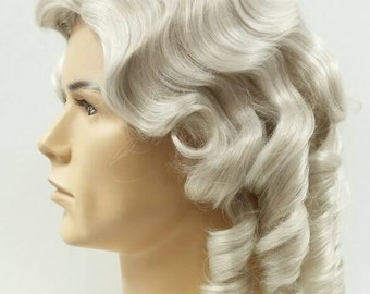 Mens Light Gray Curly Colonial Costume Wig. 1700s Style Ringlets Wig. Judge  Historical Costume Cosplay Wig  84-436-Charles-60  d75a807cd