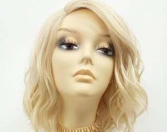 12 Inch Lace Front Light Blonde Short Wavy Lob Wig w  Side Part. Heat  Resistant Synthetic Wig.  119-561-Teegan-613  46364cab7