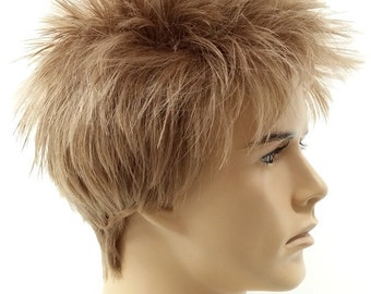 Dark Blonde Short Spiky Style Men s Wig. Synthetic Costume Fashion Wig.   54-293-Spike-25  1427dae52