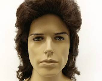 Mens Dark Brown Wavy Long Wig. 80s Style Mullet Brushed Back Costume  Cosplay Wig.  128-600-Mel-6  a0090c897