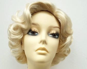 50 s Style Short Marilyn Monroe Blonde Costume Wig. Doris Day Wig.  01-7- Marilyn-613  d59cf400a6bb