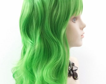 Long 25 inch Wavy Light Green Color Wig with Bangs. Anime Cosplay Costume  Wig.  80-418-Serena-LGreen  6047e6306cc5