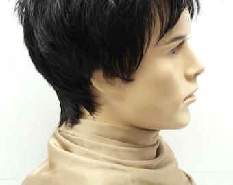 Black Short Spiky Style Men s Wig. Synthetic Costume Fashion Wig.  54-290- Spike-1B  475f971f5