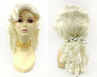 16 Inch Unisex Platinum Blonde Long Curly Colonial Wig. 1700s Ringlets Wig.  Judge Historical Costume Cosplay Wig  152-739-Remington-613A  d8c4193bd