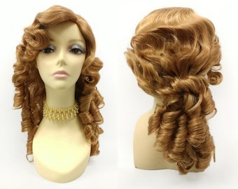 16 Inch Unisex Strawberry Blonde Long Curly Colonial Wig. 1700s Style  Ringlets Wig. Historical Costume Cosplay Wig  152-742-Remington-27B  9a878141d