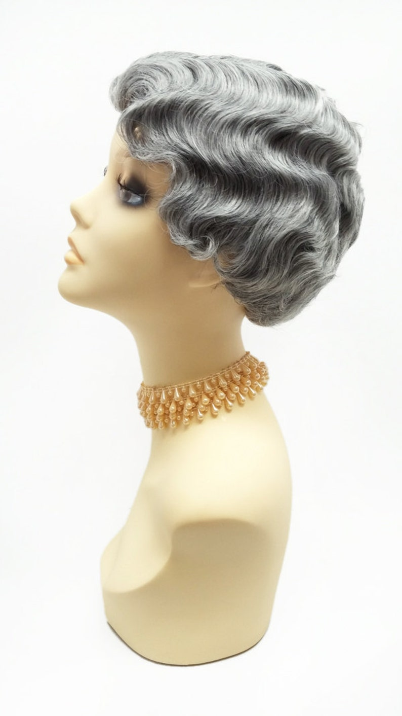 1920s Flapper Headband, Gatsby Headpiece, Wigs 1920s Style Short Salt Pepper Gray Finger Wave Wig. Marcel Wave Vintage Style Costume Wig. Heat Resistant Wig. [69-377-HTBebe-51] $39.99 AT vintagedancer.com
