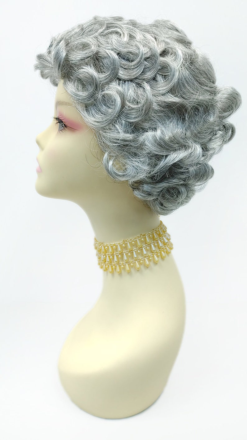1920s Headband, Headpiece & Hair Accessory Styles Silver Gray Short Curly Synthetic Vintage Fashion Wig [172-837F-Maggie-51] $39.99 AT vintagedancer.com