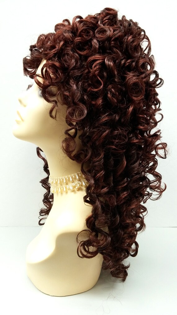 Vintage Hair Accessories: Combs, Headbands, Flowers, Scarf, Wigs Southern Belle Mixed Brown & Auburn Long Curly Wig w/ Bangs. Spiral Curls Wig. Cosplay Wig. $49.99 AT vintagedancer.com