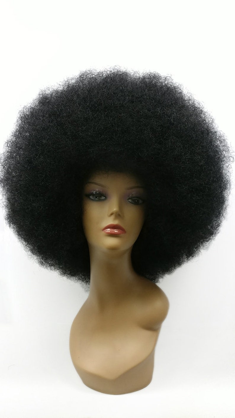 70s Clothes | Hippie Clothes & Outfits Extra Large Jumbo Black Afro Synthetic Costume Wig [97-480-XLAfro-1B] $59.99 AT vintagedancer.com