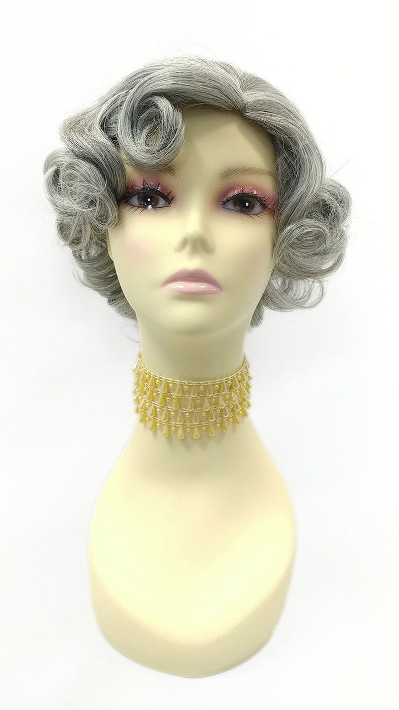 50s Hair Bandanna, Headband, Scarf, Flowers | 1950s Wigs 50s Style Salt Pepper Gray Short Glam Pin Curls Heat Resistant Wig. Retro Vintage Style Curly Wig [01-9B-HTMarilyn-51] $45.99 AT vintagedancer.com