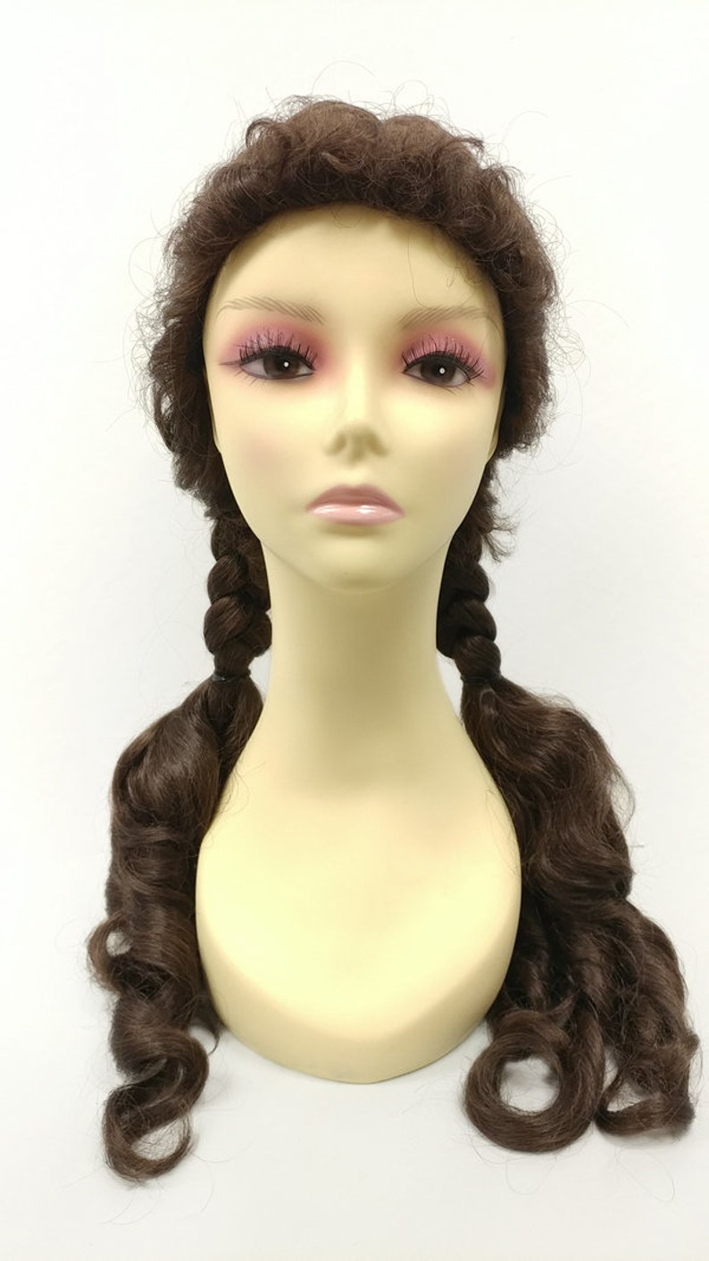 1940s Hair Snoods- Buy, Knit, Crochet or Sew a Snood 22 Inch Medium Brown Braided Pigtails Costume Wig. Dorothy Wizard Of Oz Style Cosplay Festival Costume Wig. $49.99 AT vintagedancer.com